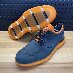 Cole Haan 4.ZeroGrand Wingtip Oxford Nubuck Suede Orange Grey Men's Size 10