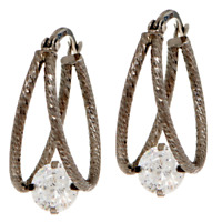DIAMONIQUE 2 CT BLACK STERLING SILVER 100-FACET SPLIT HOOP EARRINGS QVC $52.00