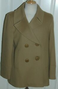 WOMEN'S  LORO PIANA  FLEURETTE  100% WOOL  PEA COAT  CAMEL COLOR  16 MADE IN USA