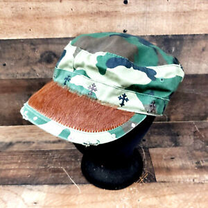 Camo Army Style Cow Hide Bill Hat M and F Western Products Adjustable & Awesome