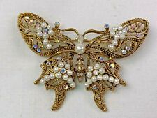 Pearls and Aurora Borealis Rhinestones Lg Golden Filigree Butterfly Pin With