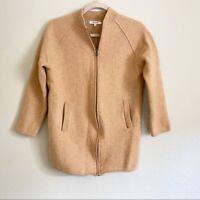 Madewell Women's Size Small 100% Wool Bomber Sweater Jacket Longline Apricot