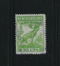 NEWFOUNDLAND - #NFR28 - 25c CARIBOU INLAND REVENUE USED STAMP