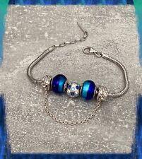 Bracelet CHARMS Couleur BLEU En Verre de Murano AUTHENTIQUE & Argent 925 Rhodié