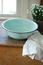 Vintage Style Metal Enamelware Basin Bowl~Blue green~Kitchen Decor