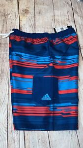 Adidas Youth Medium Or Large Swim Trunks Blue Red Striped NEW