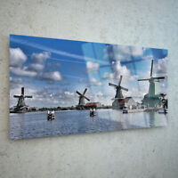 Canvas Prints Wall Art on Fade Proof Glass Photo ANY SIZE Lake Windmills p230373