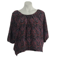 Joie Womens Blouse Boho 100% Silk Printed 3/4 Sleeves Black Red Blue S Small