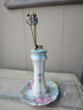 Vintage Rose Flower Porcelain Hat Pin Stand & Glass Bead Hat Pin Lot Set