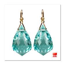 18k or 14k Pure Gold Elongated Diamond Chandelier Sage Prasiolite Drop Earrings
