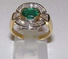 ANELLO ORO 18KT DIAMANTI E SMERALDO RING GOLD DIAMONDS Emerald Smaragd-Goldring