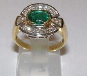 Gold Ring 18KT Diamonds And Emerald Ring Gold Diamonds 翡翠黄金戒指,镶嵌天然钻石