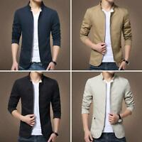 HK- Men Solid Color Bomber Jacket Autumn Casual Slim Fit Zipped Coat Outwear Rap