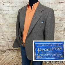 Pendleton Mens Western Sport Coat Blazer Tweed Jacket USA Suede Elbow Patches 44