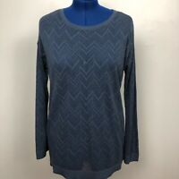 Ann Taylor LOFT Solid Blue Pointelle Pullover sweater Size XL 100% Cotton