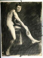 Dessin académique fin XIXe, Nu masculin, étude au crayon, Concours  Beaux-Arts