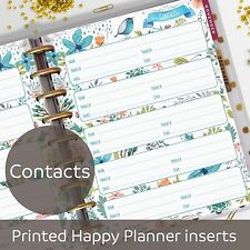 Contacts Pages - Address Book - Contacts inserts for Classic MAMBI Happy Planner