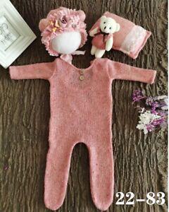 Newborn Studio Photography Props Baby Romper Jumpsuit Pillow Bear Doll Hat Set