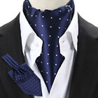 New Blue White Polka Dots Men's Silk ASCOT CRAVAT SCARVES TIE Self Tied Necktie