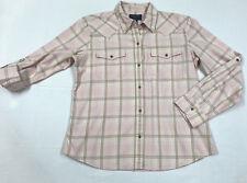 772546e21f0a44 New ListingChaps Denim Button Down Shirt Western Cowgirl Pink Gray Women s  Size L