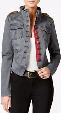 FREE PEOPLE Shrunken OFFICER MILITARY JACKET Women's S M GREY Beaded Epaulet NWT