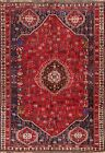 Vintage Geometric Oriental Traditional Area Rug Hand-knotted Wool Red Carpet 7x9