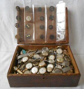 Konvolut Armbanduhren- Gehäuse Zifferblätter Teile für Bastler