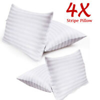 Pack Of 4 Hotel Quality Egyptian Stripe Pillows Luxury Soft Hollowfibre Filled