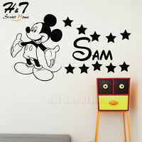 Cartoon Mickey Mouse Customized Name Vinyl Wall Sticker Decal Kid Baby Room Home