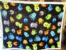 "Handmade Minky Cuddle Fleece Monster Baby Blanket  Multi Color  31""x 40""  NEW"