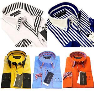 Luxury Mens Casual Double Collar Smart Fit Formal Shirt Italian Design