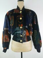 Vintage 80's ESCADA Womens Bomber Jacket Size 34 / 4 US Navy Blue Multi Military