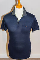 Ted Baker London Mens Slim Fit Cotton Short Sleeved Polo Shirt Navy Large Size 4