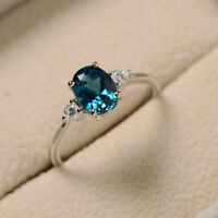 14K Solid White Gold Diamond 1.70 Ct Oval Cut Blue Topaz Engagement Ring Size N
