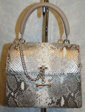 LUANA ITALY PALEY MINI SATCHEL PEWTER SNAKE/STONE LEATHER