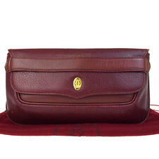 Authentic Must De Cartier Logos Clutch Hand Bag Leather Bordeaux Spain 01V1212