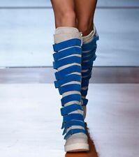 Occident Women Multi Color Buckle Decor Knee High Boots Punk Riding Shoe Roman L