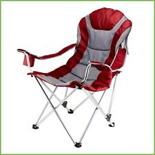PATIO CHAIR Padded Reclining Outdoor Camping Chair Foldable Steel Frame Red