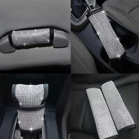 4pcs/Set Bling Crystal Car Seat Belt Covers Handbrake & Gear Knob Dust Cover