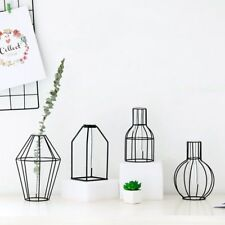 Decoration Vase Abstract Metal  Black Lines Modern Dried Flower Pot Home Decor