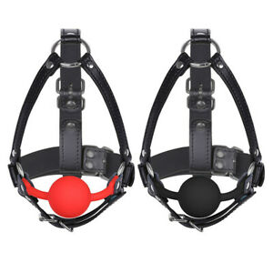 Adult Leather Mouth Gag Harness Adjustable Buckled Silicone Ball Fetish Mask