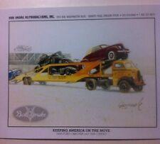 """""""1938 Ford Car Transporter & Load"""" Illustration 8x10 Reprint Garage Decor"""
