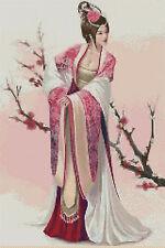 cross stitch chart - Geisha with spring blossom - No.69..free uk P&P..