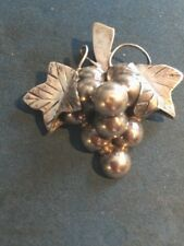 of Grapes and Leaves Vintage Sterling Silver, Mexican Pin/Pendant