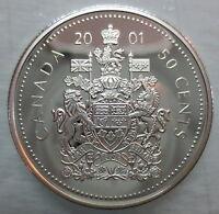 2001 CANADA 50 CENTS PROOF SILVER HALF DOLLAR HEAVY CAMEO COIN