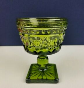 Vintage Indiana Green Glass Dessert Mid Century Goblet Sherbet Ice Cream