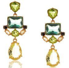 Statement Peridot Mint Emerald Crystal Dangle Big Party Earrings Gold Tone UK