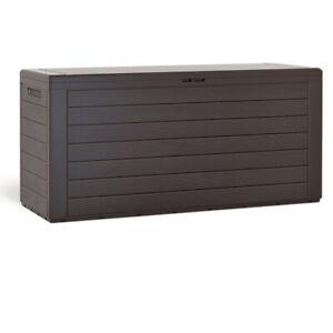Coffre de rangement 300L Aspect bois Poignées latérales Malle de jardin Terrasse
