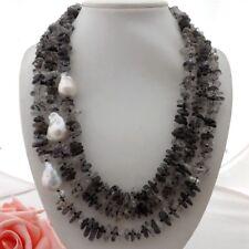 "GE061206 3 Strands 21''-24"" Rutilated Quartz White Keshi Pearl Necklace"