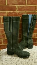 Indigo by Clarks Gray Tall Leather Chunky Heel Zip Boots Women's Size 6M 1785